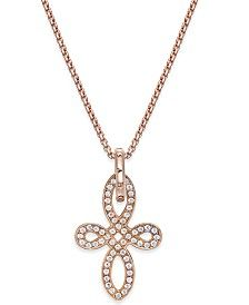 Thomas Sabo Crystal Knot Pendant Necklace in 18k Rose Gold-Plated Sterling Silver