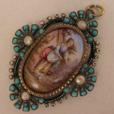 Antique Austro Hungarian Enamel Turquoise & Pearl 900 Silver Locket Pendant