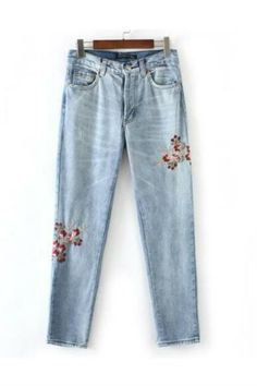 Vintage Floral Embroidery Jeans