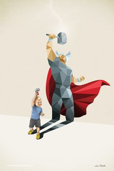 """Artist Jason Ratliff illustrates the power of imagination through something as simple as a shadow. His whimsical works feature children posing, as their exaggerated silhouettes take on the fantastical appearance of superheroes like Batman, Ironman, and Spider-Man. These fictional characters, created in a colorful and low-poly style, represent dreams and goals. """"It's about how a kid …"""