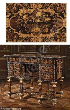 A Louis XIV Pewter, bureau Mazarin brise sold by Christie's, New York, on Friday, October 19, 2007
