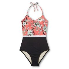 Women's Floral #Color Block One Piece #Swimsuit - Sea Angel