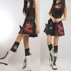 Cute Red Plaid Black Mini A Line Corset Gothic Punk Emo Dress + Choker SKU-11402009