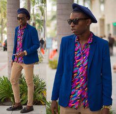 Starburst (by Jibril Durimel) http://lookbook.nu/look/4770945-Blue-Blazer-80s-Print-Shirt-Spike-Bracelet