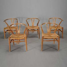 Suite of Five Danish Teak Wishbone or Y Chairs Carl Hansen for Hans Wegner (1914-2007) #michaans #midcenturymodern http://www.michaans.com/highlights/2015/highlights_11072015.php