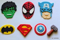 12 Fondant Super Hero Cupcake or Cake Toppers by ECTOPPERS on Etsy, $28.99
