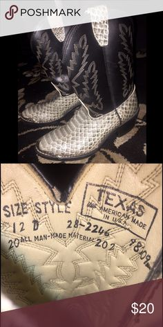 True Cowboy Boots True Cowboy Boots for your lil fella, steel toe n all. Excellent condition, hardly worn. Shoes Boots