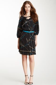 3/4 sleeve belted colorful dress