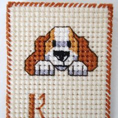 Dog Bookmark, Cross Stitched Dog, Keep Your Paws off My Book. $6.00, via Etsy.
