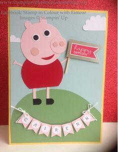 Stampin' Up! Punch Art Children's Birthday card, Peppa Pig