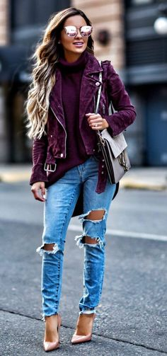 #fall #outfits women's purple zip-up jacket and distressed blue jeans