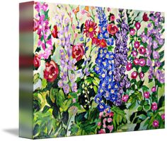Wild and windy mixed flower garden, beautiful delphiniums and roses, pretty and lively great for a wallpapered feature wall!
