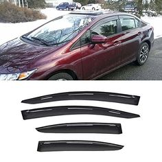Gevog 4pc SunRain Guard Window Visors Fit 1215 Civic 4Door Sedan Smoke Vent Shade Window Deflectors ** Check out the image by visiting the link.