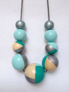 Hand painted geometric wooden bead necklace silver by NatartShop, €20.00