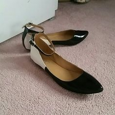 BCBG shoes Flats with ankle strap.  Black and cream.  Worn once BCBG Shoes Flats & Loafers