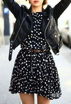 Leather Jacket with a Dress <3 love it !