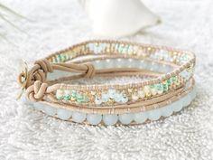 Seafoam Blue Sea Glass Bracelet  Beaded Leather Wrap by PinaHina