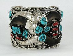 Elaine Sam Navajo Bear Claw Bracelet with Turquoise and Coral stones size 7 wide and heavy Silver Jewellery Indian, Navajo Jewelry, Sterling Silver Jewelry, Beaded Jewelry, 925 Silver, Coral Turquoise, Turquoise Jewelry, Turquoise Bracelet, Multiple Earrings