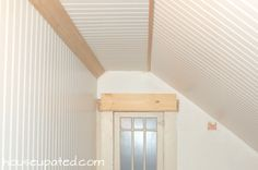 Like the white bead board with real wood color trim (lol except for the plank) Vinyl Beadboard, How To Install Beadboard, White Beadboard, Home Remodeling Diy, Basement Remodeling, Cove Molding, Stained Trim, Ohio House, Angled Ceilings