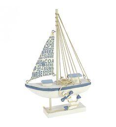 WOODEN SHIP IN WHITE-LT BLUE COLOR 27Χ9_5Χ42_5