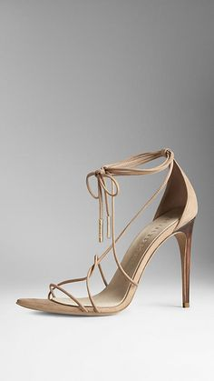 Burberry of London ~ Tie-Detail Suede Sandals, Tan 2015