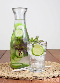 Cucumber, Mint and Lime-Infused Water Ingredients: 1/2 cucumber, sliced 5 to 6 mint sprigs 4 lime slices 1 liter water ~~ by allParenting