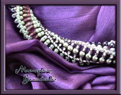 """Купить Оплетенный бисером шарф """"Вуаль"""" - темно-фиолетовый, фиолетовый, оригинальное украшение, подарок для женщины"""