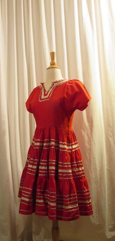 Lovely Mexican Fiesta Dance Dress Red Cotton with Gold Rick Rack and Trim Small Adult or Large Child Vintage Mariachi Costume