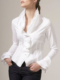 Stylewe Elegant 1 White Women Blouses For Work Ruffled Elegant Polyester Date Buttoned Blouses Mode Outfits, Trendy Outfits, Elegant Dresses For Women, Stylish Shirts, Work Tops, Work Blouse, Blazers, Looks Style, Types Of Sleeves