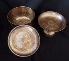 Chud Khan Nam Montr - Nuea Samrit - 3 Piece Sacred Bronze Holy Prayer Water Bowl Set - 'Run Bucha Por Tan Nam 2' edition 2555 Be - Wat Don Sala - Very few Made, $499.00