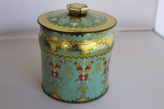 Vintage Blue Decorative Tin Made in England by TwoCatsVintage, $7.00