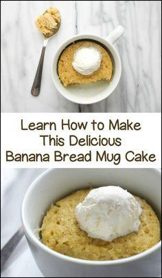 Make your own fresh banana bread mug cake in under 2 minutes! Learn how here...