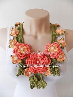 Silvia Gramani Crochê: Colar com Flores de Crochê - Colar Miss Flor