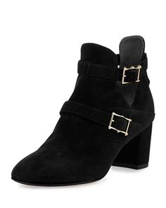 Suede+Double-Buckle+Ankle+Boot,+Black+by+Valentino+at+Neiman+Marcus.