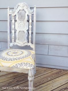 Chalk Paint® decorative paint by Annie Sloan.  in Old White & wax on a chair. Via Scout & Nimble.