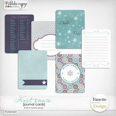 Journal cards {first snow} by Fanette Design available on her blog!