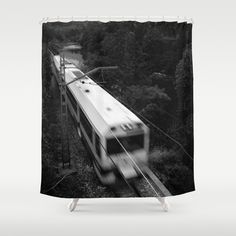 Way of St. James. Nalon river Valley Shower Curtain by Guido Montañés - $68.00