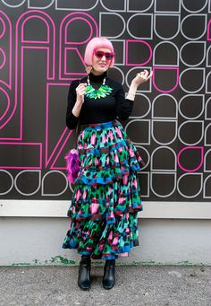 Sara is in Love with… blogger outfit fashion style street style Kenzo x H&M Yazbukey leo print maxi skirt turtleneck jumper perspex jewellery pink hair Tatty Devine 4&theReckless CeliaB crocket bag