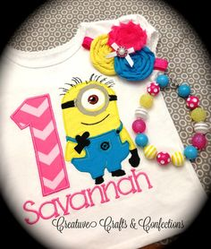 Minion Applique Birthday Shirt for Girls or Boys Available with Matching Chunky Bead Jewelry and Customizable Headband or Clip