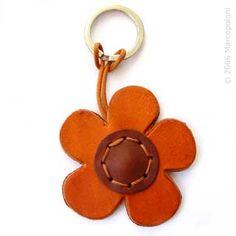Flower Leather Key Chain