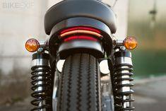 1971 Honda CB350, rear LED taillight between frame and fender