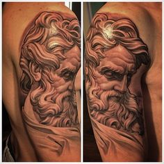 Statue of Saint Matthew, some healed and some fresh, this stuff is just flat out fun to tattoo. Saint Matthew, Cartoon Video Games, Black And Grey Tattoos, Saints, Sculpture, Statue, Gray Tattoo, Artist, Instagram Posts