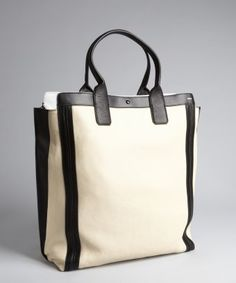 Chloe : husky white and black leather shopper tote : style # 322724001