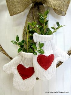 Simply Country Life: How I Upcycled a Sweater into a Valentines Day Wreath