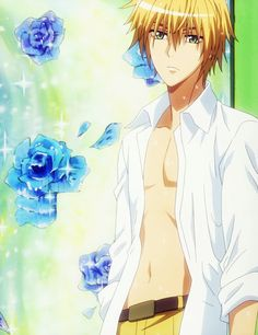 Usui Takumi <3 - kaichou wa maid-sama quite possibly the most perfect anime blonde male :PS: Look at that body