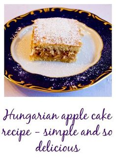 Hungarian apple cake (Almás pite) is a true Hungarian classic, quite popular in the country. A delicious pie filled with sweetened shredded apple spiced with cinnamon and lemon. Hungarian Desserts, Hungarian Cake, Hungarian Cuisine, Hungarian Recipes, Hungarian Food, German Recipes, Apple Cake Recipes, Baking Recipes, Dessert Recipes