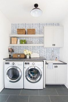 Inspiring Small Laundry Room Design And Decor Ideas 29 - Small laundry room organization Laundry closet ideas Laundry room storage Stackable washer dryer laundry room Small laundry room makeover A Budget Sink Load Clothes Laundry Room Shelves, Laundry Room Remodel, Small Laundry Rooms, Laundry Room Organization, Laundry Room Design, Laundry In Bathroom, Storage Shelves, Storage Ideas, Storage Organization