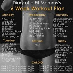 6 Week No-Gym Home Workout Plan (Diary of a Fit Mommy) Since the colder months are coming up, a ton of you have been asking for fun mini-challenges or workouts that can be done at home with minimal equipment. Here is a fun little workout that you can do i 6 Week Workout Plan, Post Baby Workout, Weekly Workout Plans, At Home Workout Plan, At Home Workouts, Weekly Workouts, Post Pregnancy Workout, Mommy Workout Plan, Baby Belly Workout
