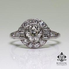 Antique Art Deco Platinum 0.81ctw Diamond Ring