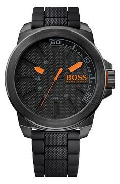 BOSS Orange Textured Silicone Strap Watch, 50mm available at #Nordstrom